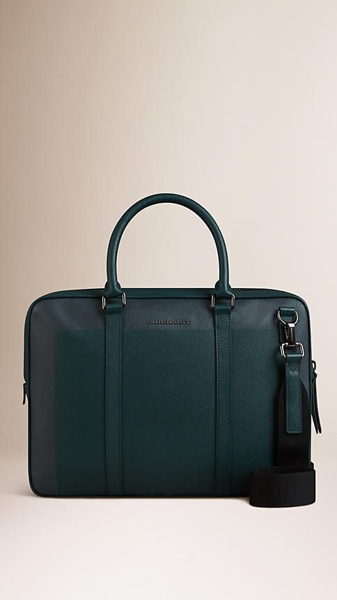 Burberry Dark Teal Colour Block London Leather Crossbody Briefcase - London leather briefcase with rolled leather handles and detachable webbed canvas crossbody strap. Ziparound closure, polished metal hardware. Discover men's tailoring at Burberry.com
