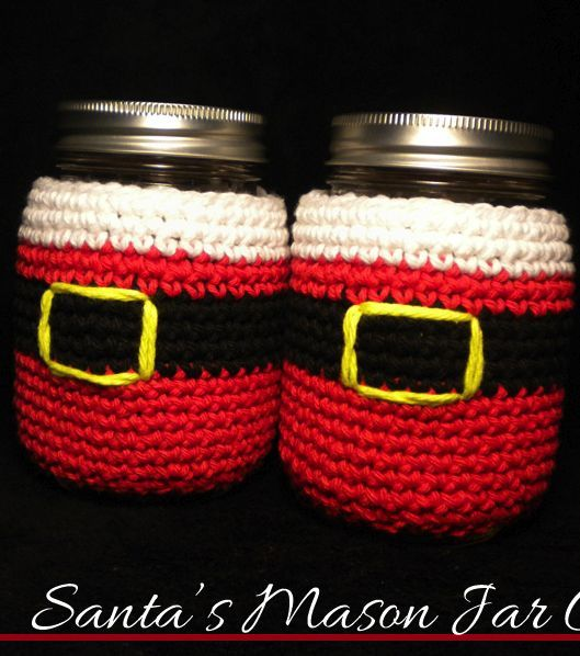Crochet your own mason jar or bottle cozy for a fun alternative to a simply bag this holiday season