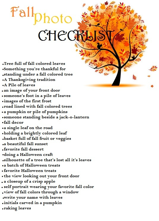 Fall Photo Checklist. My favorite season!  Make sure to get photos with hubby.