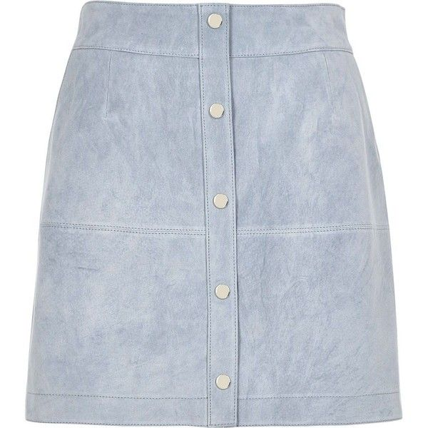 River Island Light blue suede button-up A-line skirt ($130) ❤ liked on Polyvore featuring skirts, a line skirts, blue, women, suede a line skirt, suede skirt, river island, a line skirt and button front skirt