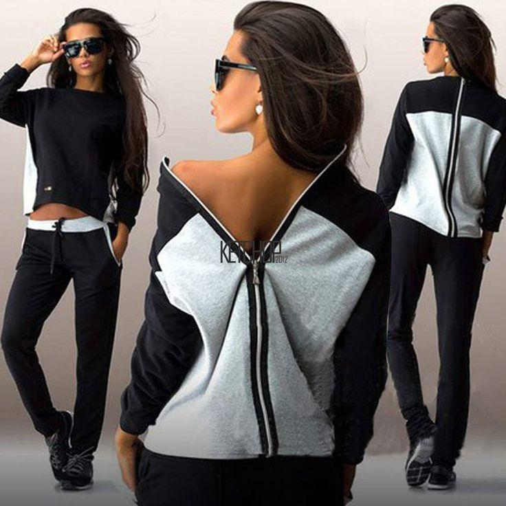 Women 2Pcs Hoodies Sweatshirt Pants Sets Zipper Tracksuit Jogging Gym Sport Suit