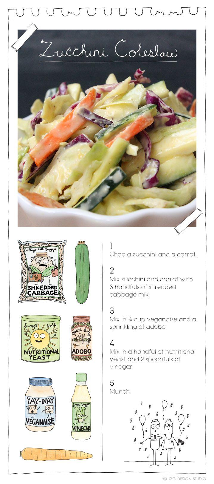 Zucchini Coleslaw. More recipes at: TheVeganStoner.com