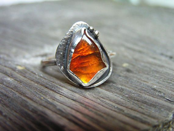 Amber Sterling Silver Ring with Natural Amber