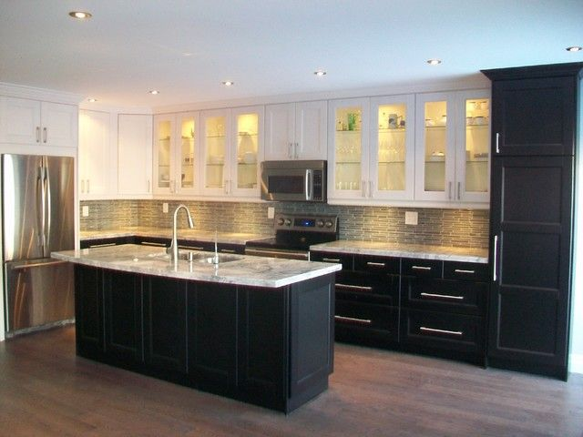 Ikea Kitchens Ramsjo White And Ramsjo Black Brown Contemporary