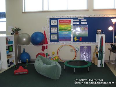 The Sensory Break Center -made from tools from yard sales, kids' closets as they outgrow items, and some purchased items from a small allowance given each year to spend on materials. Pinned by SOS Inc. Resources. Follow all our boards at http://pinterest.com/sostherapy for therapy resources.