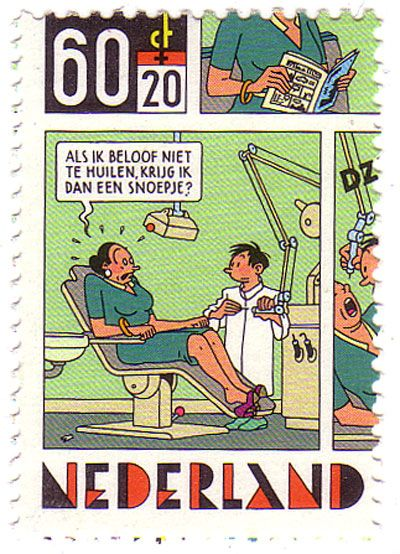 One of a 4 stamp set from Dutch comic artist Joost Swarte.