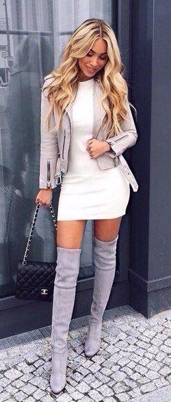 summer outfits  Grey Jacket + White Dress + Grey Velvet OTK Boots
