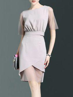 Plain Work Short Sleeve Paneled Polyester Midi Dress