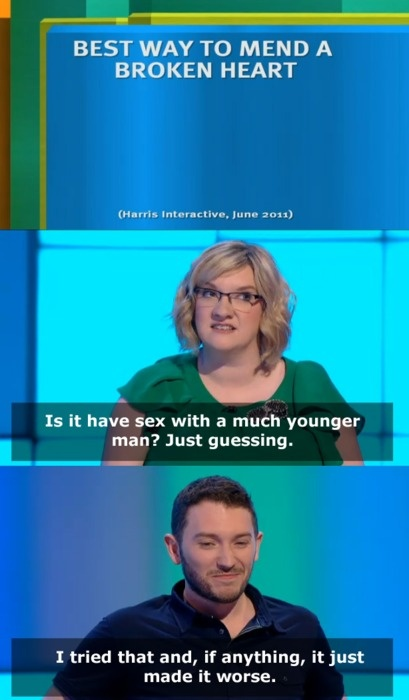 Best way to mend a broken heart | Sarah Millican and Jon Richardson | 8 out of 10 cats