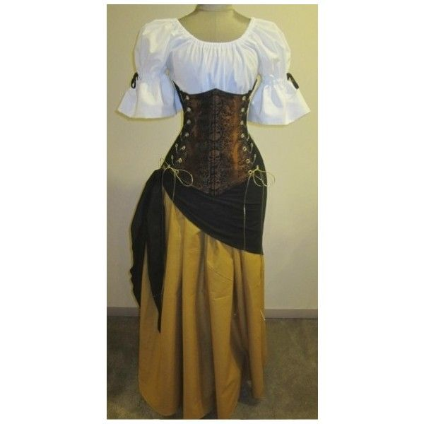Buccaneer Wench Under-bust Corset Set - renaissance clothing, medieval, costume ($180) found on Polyvore