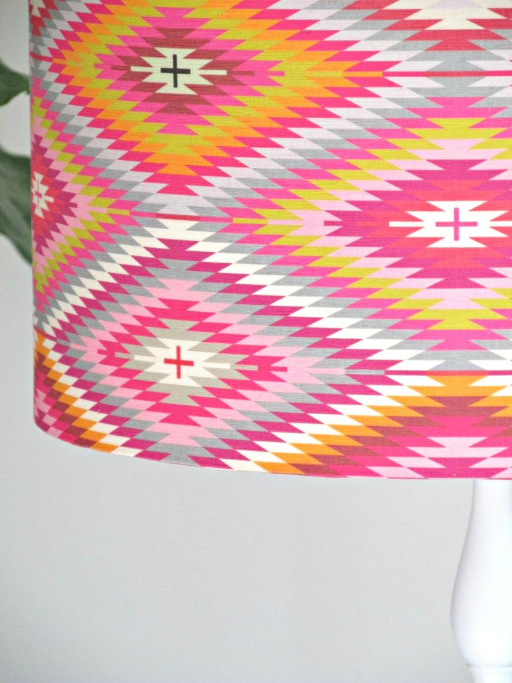 "Beautiful ""kilim"" lampshade. Bold and bright...avialable via bibbyandbrady.co.nz"