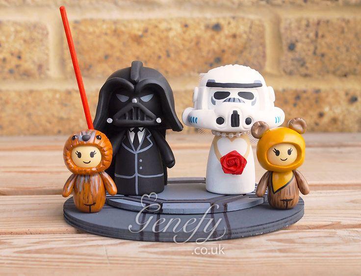 Star Wars Darth Vader and Stormtrooper and Chewbacca and Ewok children wedding cake topper by GenefyPlayground  https://www.facebook.com/genefyplayground
