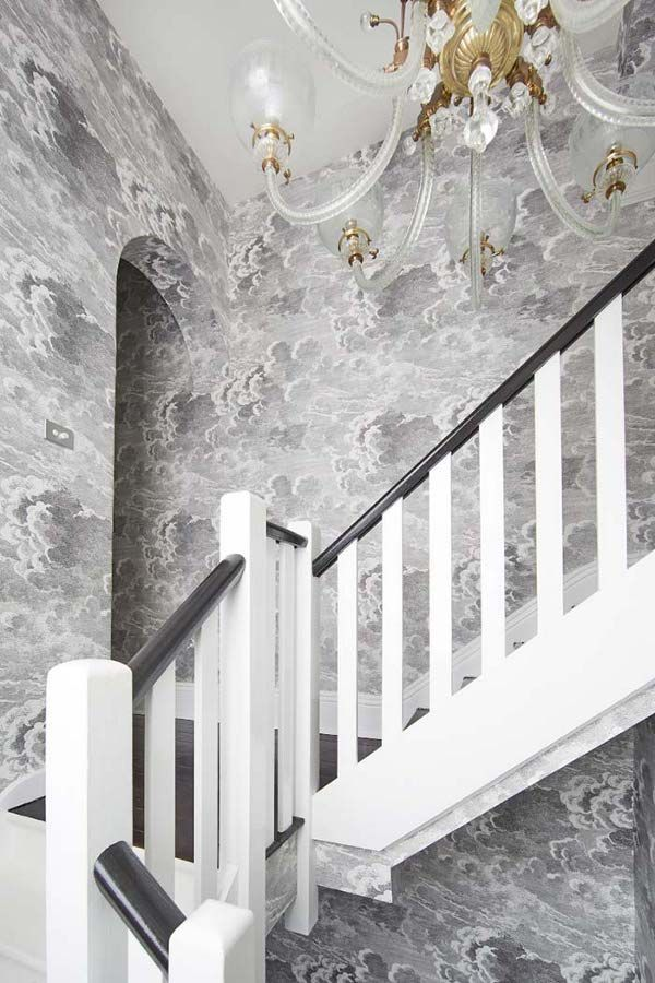 Kate Challis Interiors Fornasetti Nuvolette Cloud Wall Paper And Antique Chandelier