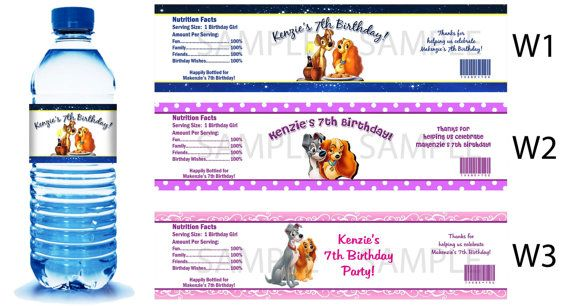 Lady and the Tramp Water Bottle Labels  PRINTED by PartyDesigns4U