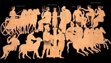 021 - PÉLOPE - En la mitología griega, Pélope era hijo de Tántalo y Dione (hija de Atlas), y padre con Hipodamía de los famosos Atreo y Tiestes.  El padre de Pélope era Tántalo, rey en el monte Sípilo de Anatolia. Queriendo hacer una ofrenda a los olímpicos, Tántalo descuartizó a Pélope y cocinó un estofado con su carne, que entonces sirvió a los dioses.  Démeter, profundamente apenada tras el rapto de su hija Perséfone por Hades, distraídamente aceptó el ofrecimiento y se comió