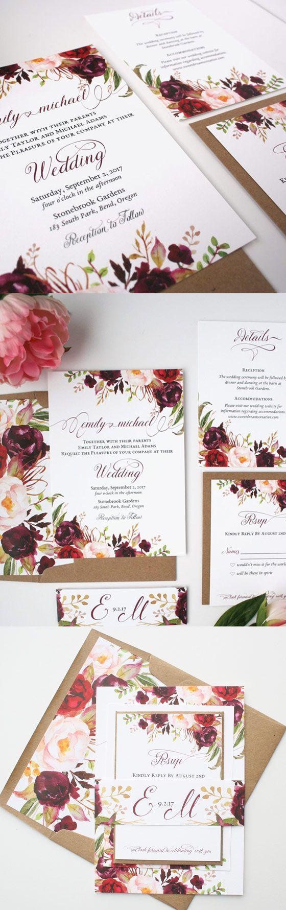 Love these burgundy & blush wedding invitations!