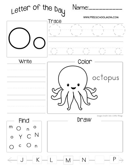 Letter of day worksheets - you have to subscribe to something so I need to check this out in more detail later