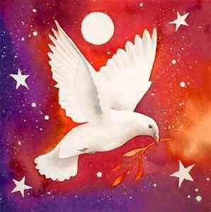 On the wings of a dove.