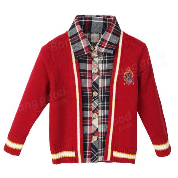 Baby Children Boys Wool Bow Thick Tie Plaid Sweater at Banggood