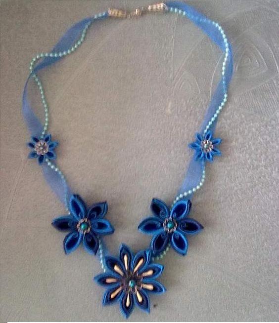 Beautiful kanzashi necklace by Luchik, Russia