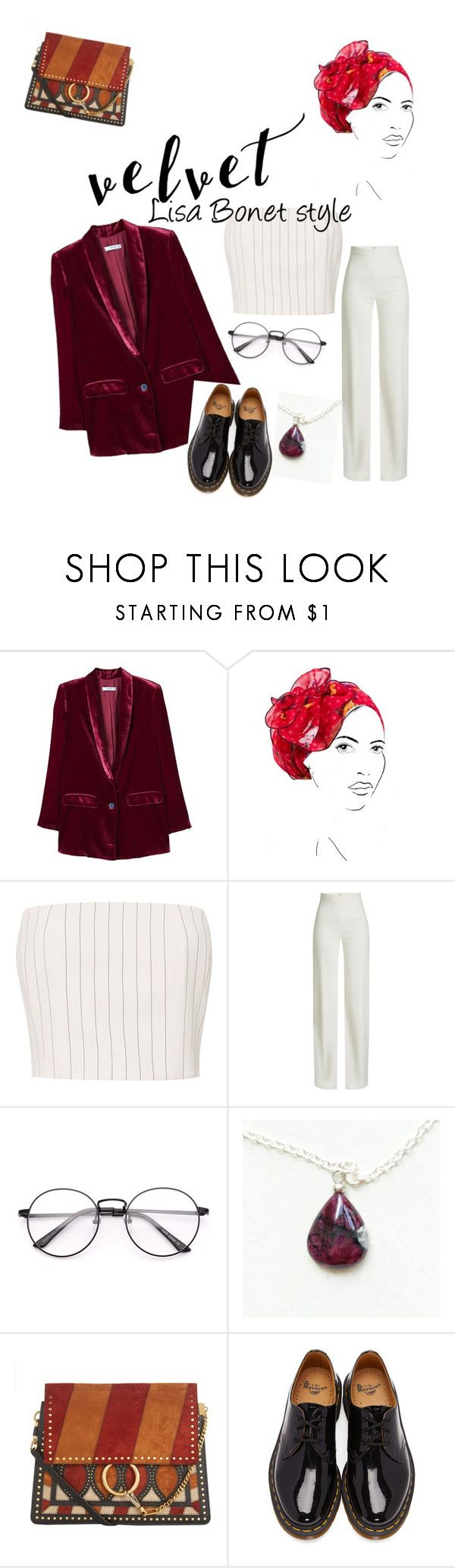 """""""Lisa Bonet-the Cosby show-velvet"""" by alexandra-okwuosa ❤ liked on Polyvore featuring MANGO, Rinati Lakel, Brandon Maxwell, Chloé and Dr. Martens"""