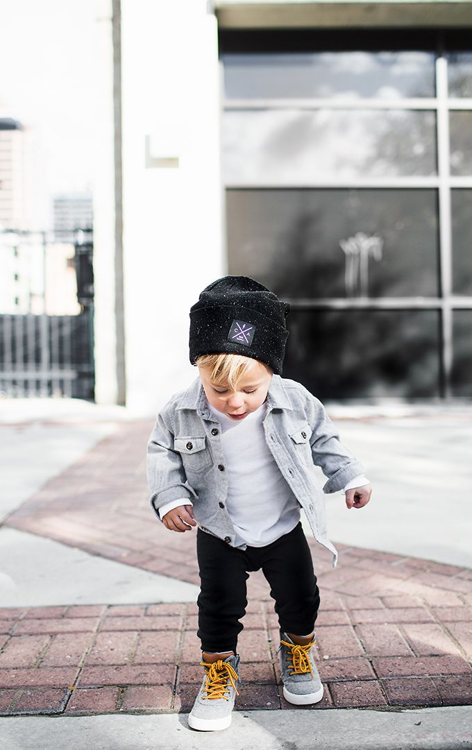 Stylish Boys Clothes for Fall: White shirt covered with a chambray button up, a slouchy hat, and high-tops!