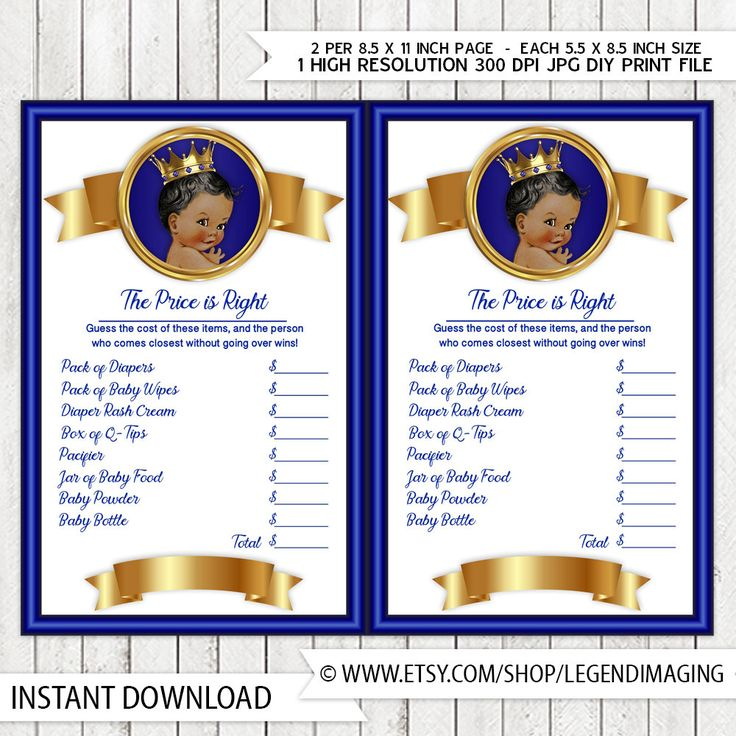 Prince Price Is Right Baby Shower Game Royal Blue Gold