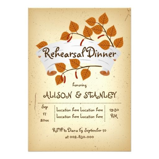 Birch bark orange brown fall rustic wedding rehearsal dinner personalized invitations. #wedding #fallwedding #rehearsaldinner #invitationd #birch