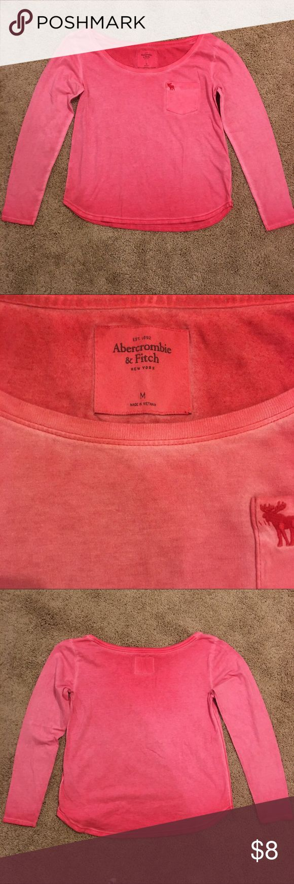 Abercrombie and Fitch top medium Abercrombie and Fitch, women's ombré red tshirt, size medium. GUC. No stains or imperfections. Bundle and save. Abercrombie & Fitch Tops Tees - Long Sleeve