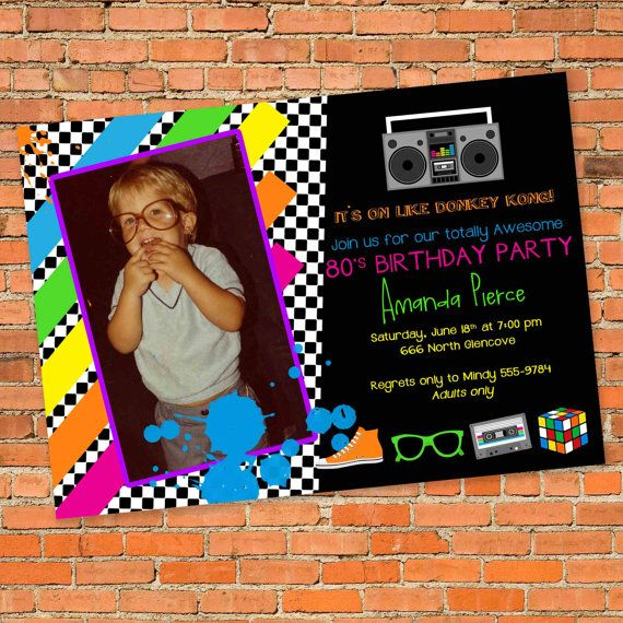85 best images about My Dirty Thirty 80s Birthday Bash – 80s Theme Party Invitations
