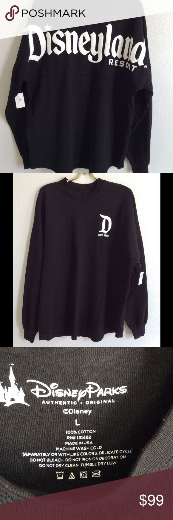 Disneyland Spirit Jersey Brand new with tags.  Classic D emblem in the front and Disneyland written across the back.  Lightweight long sleeve shirt. Loose fit. Disney Tops Tees - Long Sleeve