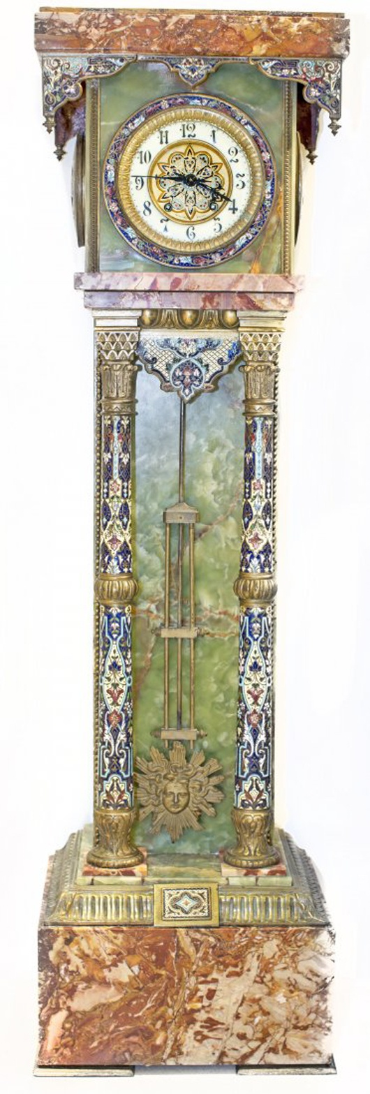 Louis XV-style gilt-bronze and champleve enamel mounted onyx and marble tall-case clock. Price realized: $14,400. A.B. Levy's Auction image.