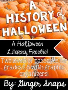 This freebie was created to help students practice reading and responding to their reading in different ways. There are two different levels of the same passage included. Also included:* Comprehension questions* Main Idea and Detail Graphic Organizer* Venn Diagram comparing Halloween then and now.