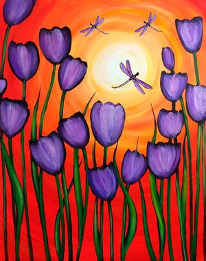 Tulips, dragonflies & Sunshine beginner painting idea.