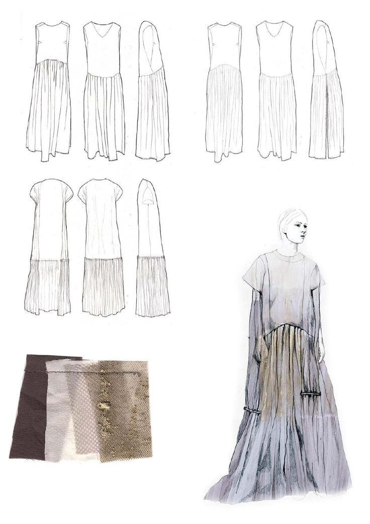 Cloth Design Drawings   Fashion Sketchbook Page With Dress Design Drawings Textile