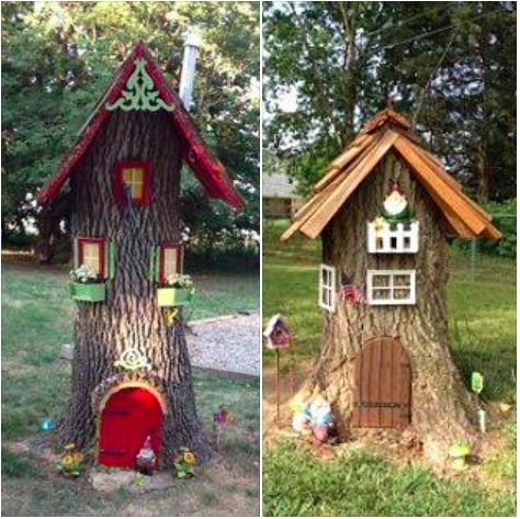 11 Best Images About Tree Stump Gnome Houses On Pinterest
