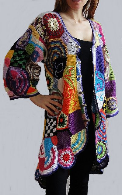Multicolor cardigan hand made crochet patchwork west jacket hippie dress boho vintage high fashion bohemian gypsy by GlamCro, via Flickr