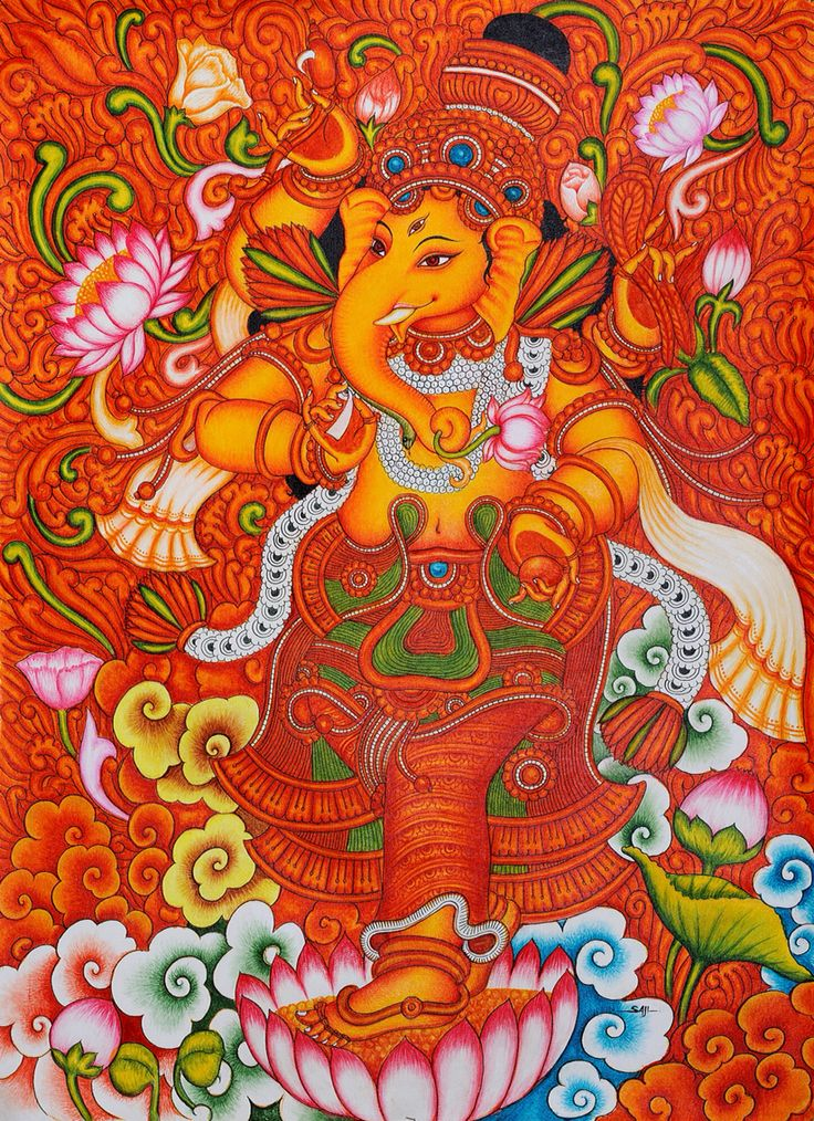 269 best images about mural paintings on pinterest for Mural art of ganesha