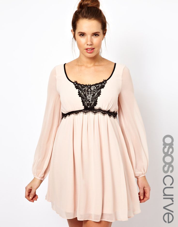 ASOS CURVE Dress With Embellished Lace Trim sizes 20-26 http://rstyle.me/~LWg9