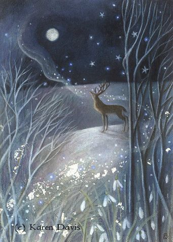 Whispers to the Old Moon. Stag And Winter Moon Magical Print