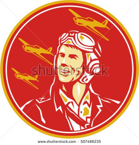 Illustration of a world war two pilot airman aviator smiling looking to the side with fighter planes in the background set inside circle done in retro style.  #aviator #retro #illustration