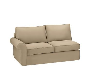 Pearce Slipcovered Left Arm Love Seat Sleeper, Polyester Wrapped Cushions, Twill Walnut