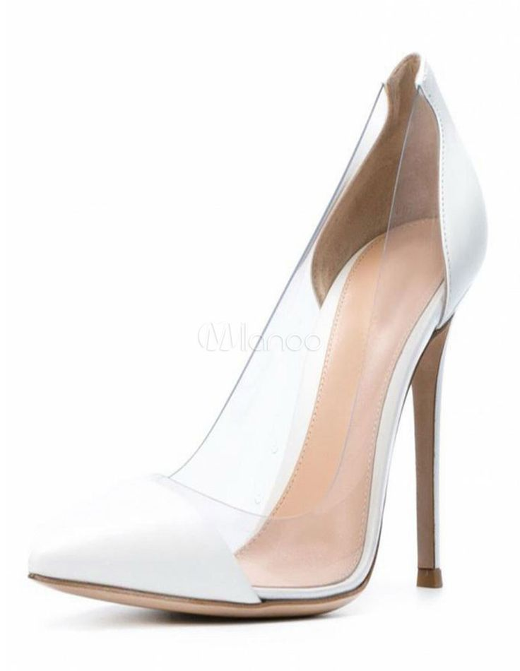 Clear High Heels Red Court Shoes Pointed Toe Stiletto Pumps Shoes For Women  $44.99