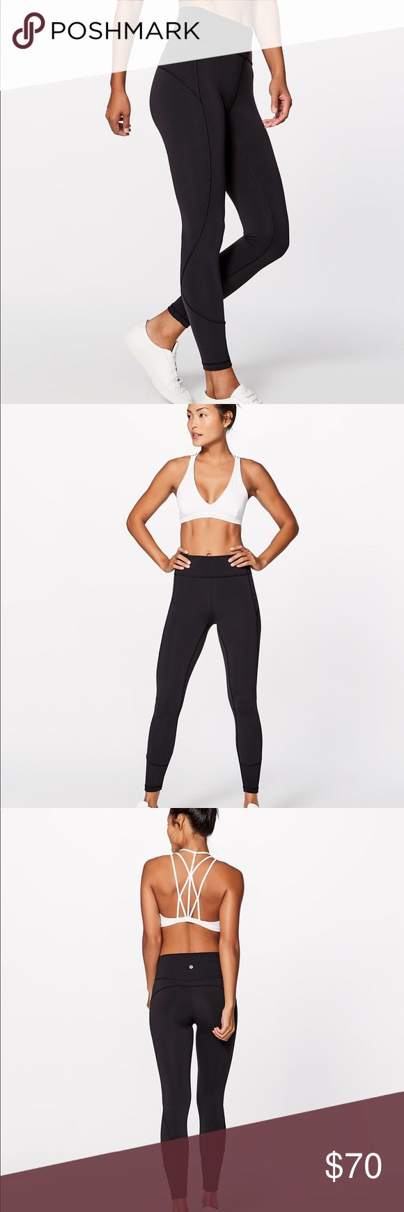 NWT 🍋 LuluLemon 🍋 In Movement 7/8 Tight in Black Meet your new studio workout companion: a sleek tight that fits like a second skin. Everlux fabric is four-way stretch, sweat-wicking, feels cool to the touch, and dries so fast it's like magic. Added Lycra for stretch and shape retention. Hidden waistband in pocket to stash your phone.   ✨BRAND NEW with TAGS!✨ Currently retailing for full price. My leggings collection is excessive, but it's to your benefit☺️  💜 Reasonable offers…