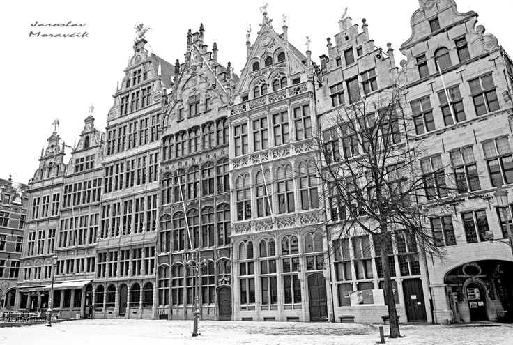 Historical buildings on square at city Antwerpen, Belgium