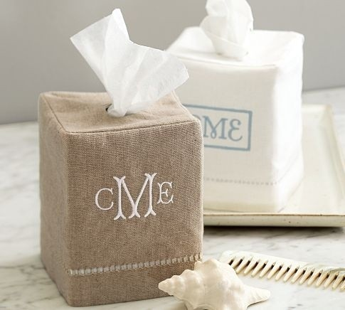 Linen Hemstitch Tissue Box Cover modern bath and spa accessories