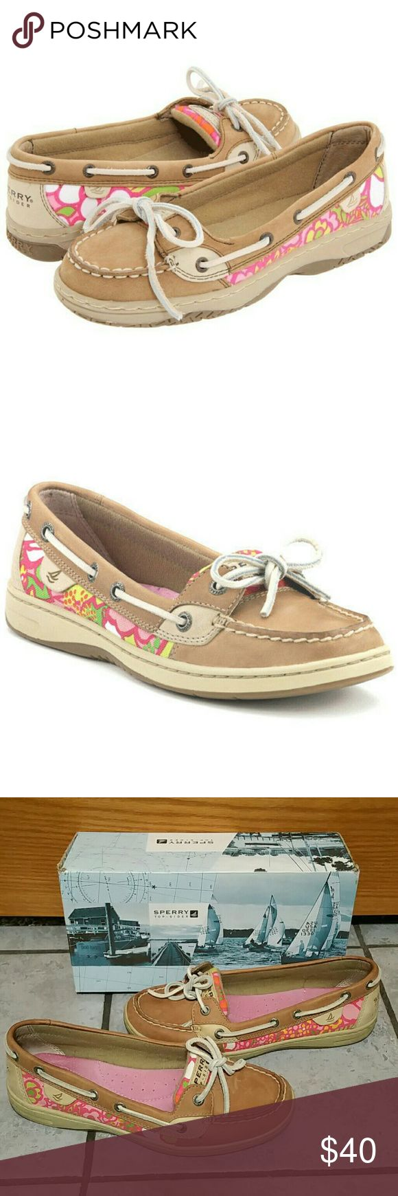 Sperry Top-Sider Angelfish Linen Floral Shoes Sperry Top-Sider Women's Angelfish Linen Floral Boat Shoes -Ships in Original Box- Classic styling with an updated silhouette, shapes this cute slip on boat shoe. -Leather upper with Floral Fabric Accents -Textile lining and removable footbed for all-day comfort -Slip-on styling with Authentic Rawhide -Linen Leather -Cushioned Sole Size: 8 (true to size) Great Condition, worn once:  pics show--> -a few scuffs on toe and heel, not very noticeable…