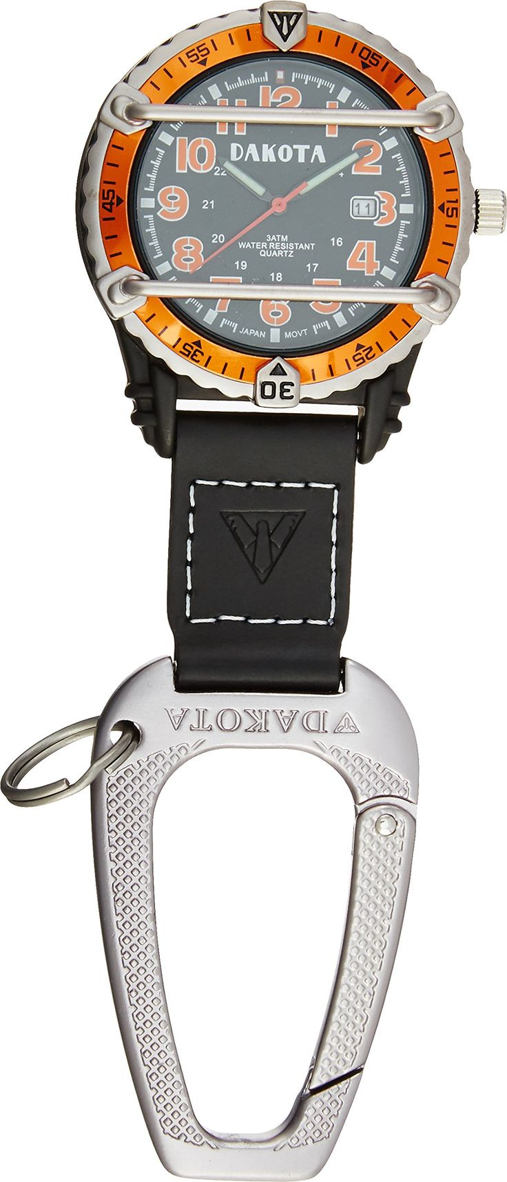 Dakota Watch Company Phase III Military Backpacker, Black/Orange. Black with orange military dial. 100 Feet water resistant. Genuine black leather fob with Dakota aluminum cobra clip carabiner. Bezel with integrated crystal protector. Luminescent hands and hour markers.