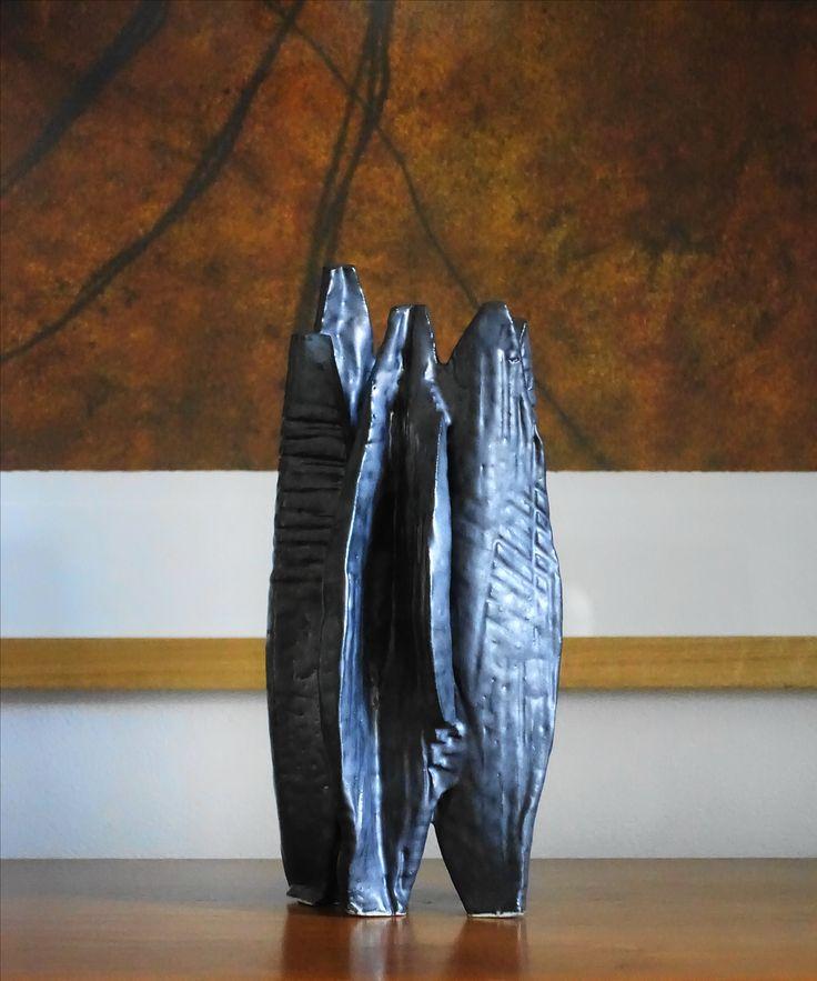 Sculpture work black Matt glaze