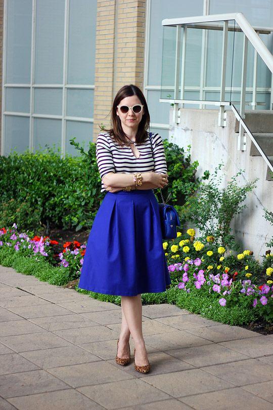 Cobalt Blue Midi Skirt